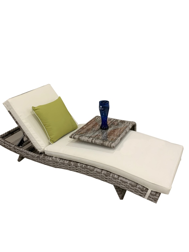 Chaise Grey Wicker chaise lounge with modern side table
